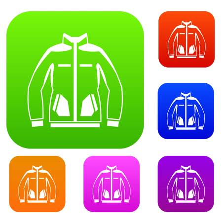 Men winter jacket set icon in different colors isolated vector illustration. Premium collection Illustration