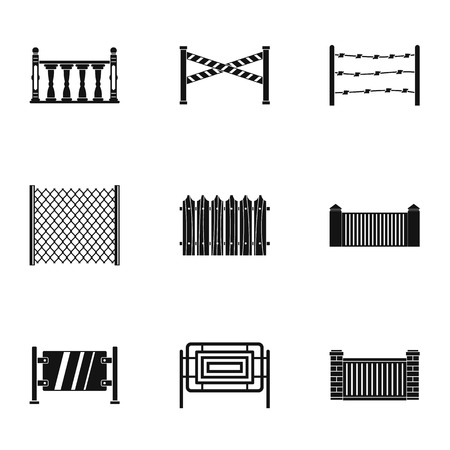 Retro fence icons set. Simple set of 9 retro fence vector icons for web isolated on white background