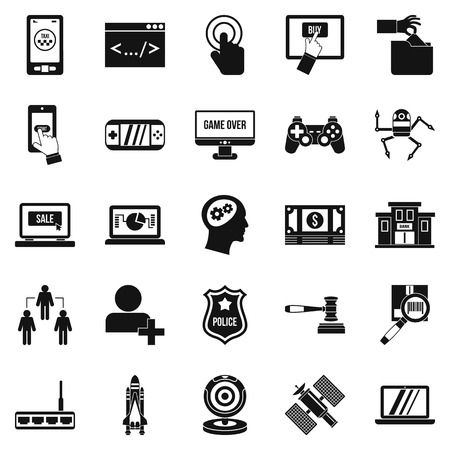 querying: Protocol icons set. Simple set of 25 protocol vector icons for web isolated on white background