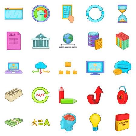wireless communication: Sale of data icons set. Cartoon set of 25 sale of data vector icons for web isolated on white background