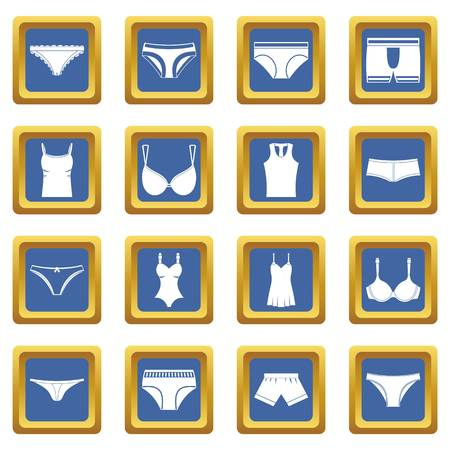 Underwear items icons set in blue color isolated vector illustration for web and any design