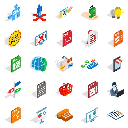 querying: Technology guide icons set. Isometric set of 25 technology guide vector icons for web isolated on white background Illustration