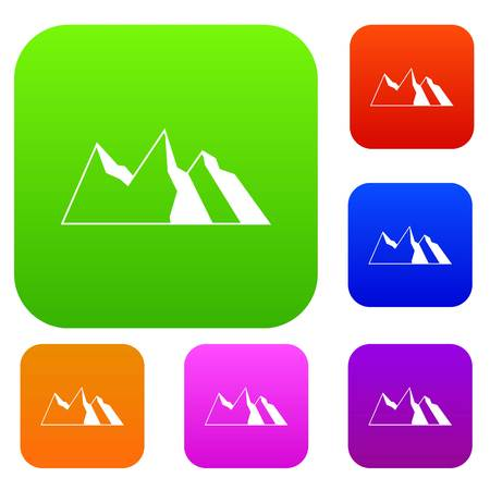 overlook: Mountains set icon in different colors isolated vector illustration. Premium collection