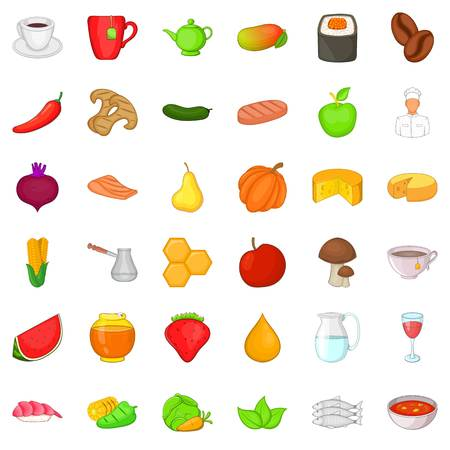 Product for diet icons set. Cartoon style of 36 product for diet vector icons for web isolated on white background