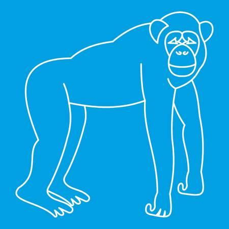 Marmoset monkey icon blue outline style isolated vector illustration. Thin line sign Illustration