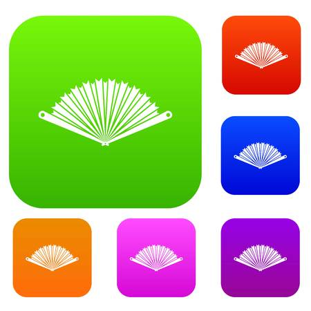 Opened oriental fan set icon in different colors isolated vector illustration. Premium collection Illustration