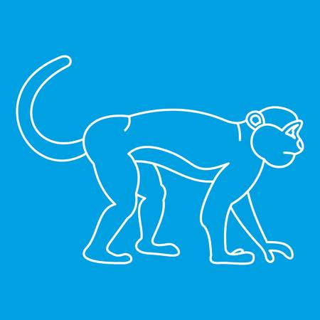 Mandrill monkey icon blue outline style isolated vector illustration. Thin line sign