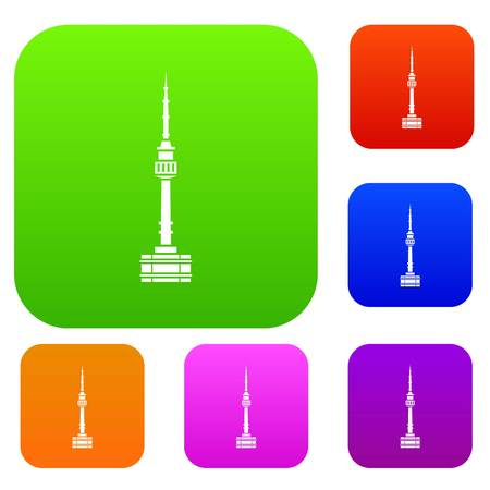 Namsan tower in Seoul set icon in different colors isolated vector illustration. Premium collection Illustration