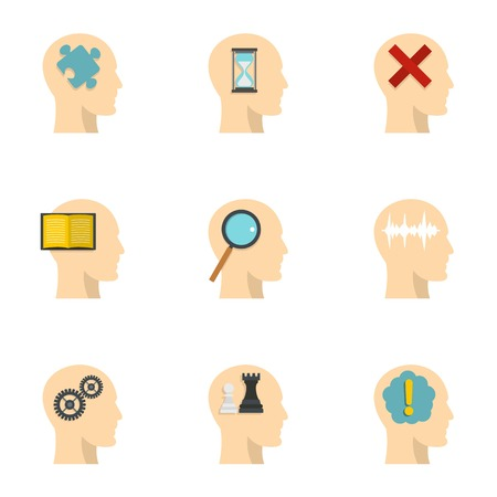 Human head with different things icons set. Flat set of 9 human head with different things vector icons for web isolated on white background