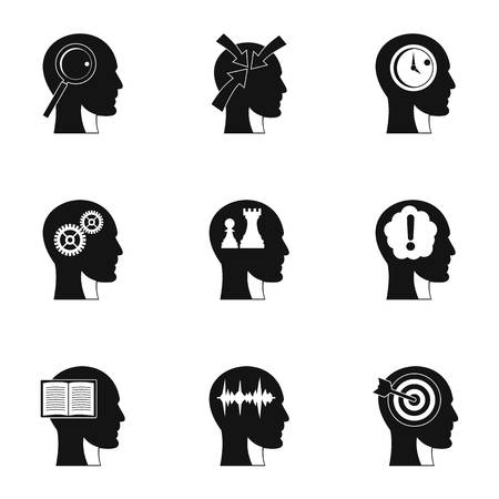 Human head with different things icons set. Simple set of 9 human head with different things vector icons for web isolated on white background Illustration