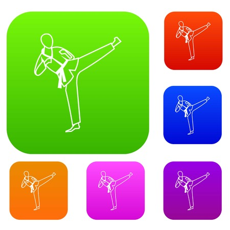 blue green background: Wushu master set icon in different colors isolated vector illustration. Premium collection