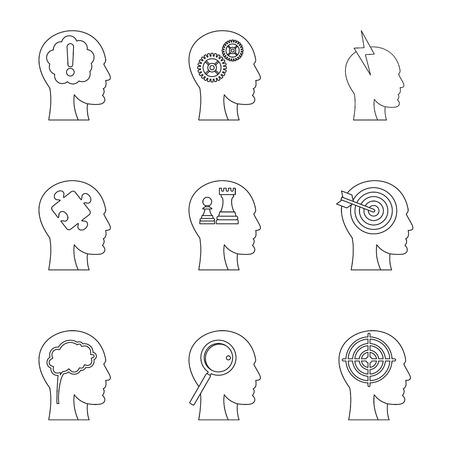 Human head with different things icons set