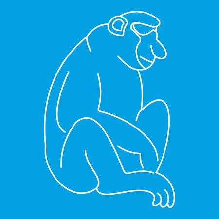 Macaque icon blue outline style isolated vector illustration. Thin line sign