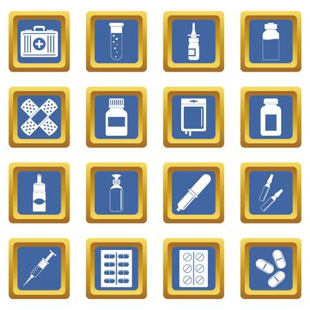 Different drugs icons set in blue color isolated vector illustration for web and any design