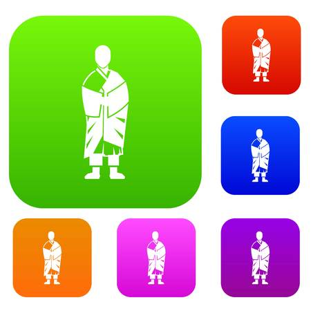 Buddhist monk set icon in different colors isolated vector illustration. Premium collection Illustration
