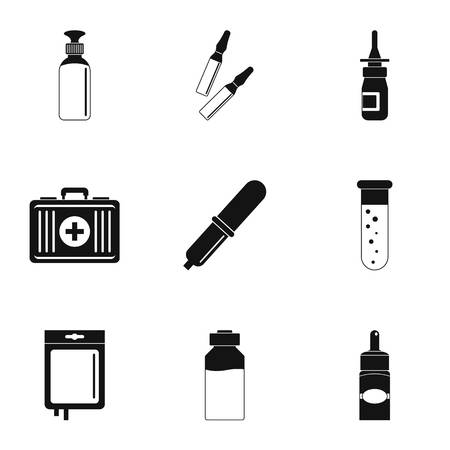 Medical care icon set. Simple style set of 9 medical care vector icons for web isolated on white background Çizim