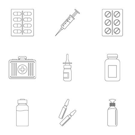 Medicinal preparations icon set. Outline style set of 9 medicinal preparations vector icons for web isolated on white background