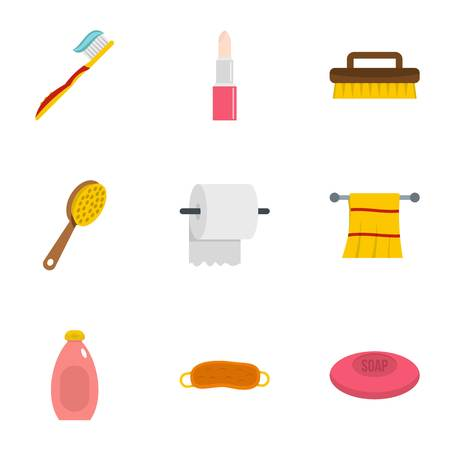 Hygiene icons set. Flat set of 9 hygiene vector icons for web isolated on white background