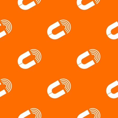Horseshoe magnet pattern repeat seamless in orange color for any design. Vector geometric illustration