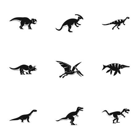 deinonychus: Wild dinosaur icons set. Simple set of 9 wild dinosaur vector icons for web isolated on white background
