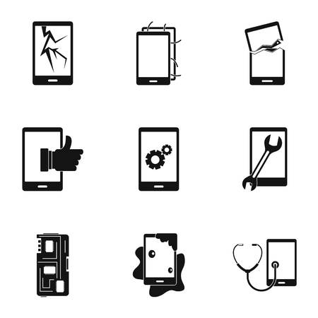 Broken phones fix icon set. Simple style set of 9 broken phones fix vector icons for web isolated on white background