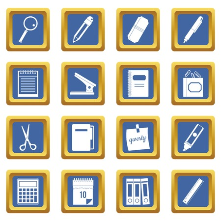Stationery symbols icons set in blue color isolated vector illustration for web and any design Illustration