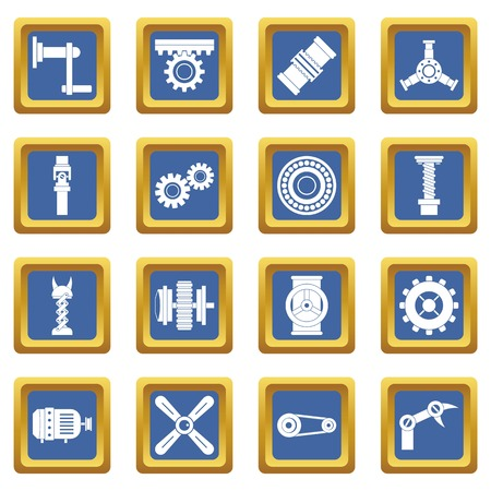 Techno mechanisms kit icons set blue
