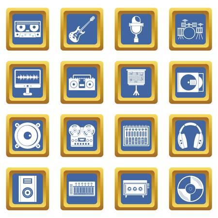Recording studio items icons set blue