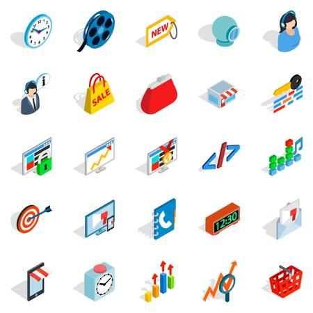 techology: Technical trifle icons set. Isometric set of 25 technical trifle vector icons for web isolated on white background