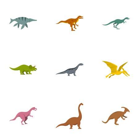 deinonychus: Wild dinosaur icons set, flat style
