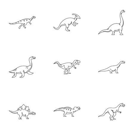 deinonychus: Wild dinosaur icons set. Outline set of 9 wild dinosaur vector icons for web isolated on white background Illustration