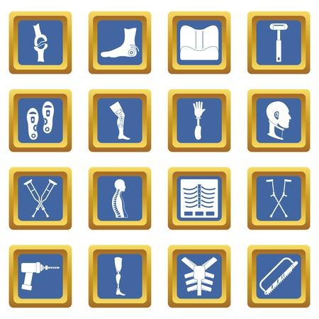 medical doctors: Orthopedics prosthetics icons set blue