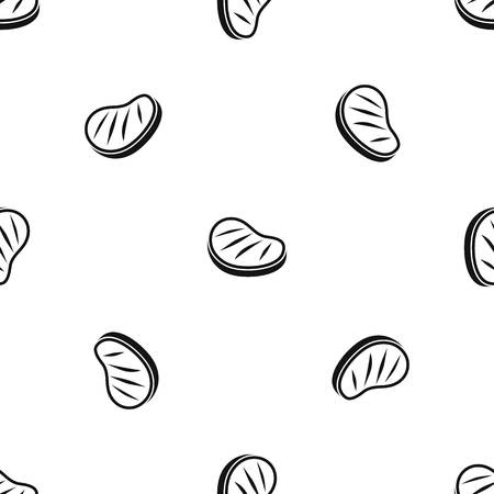 Beef steak pattern repeat seamless in black color for any design. Vector geometric illustration Illustration