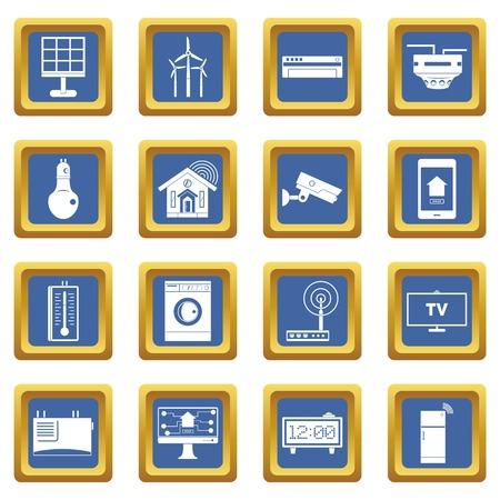 Les icônes de maison à domicile intelligentes sont réglées en bleu