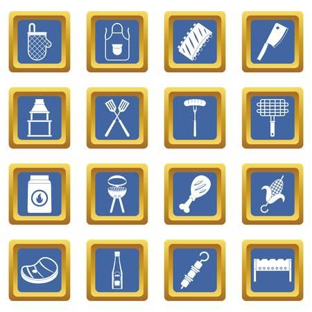 hot dog: BBQ food icons set blue Illustration