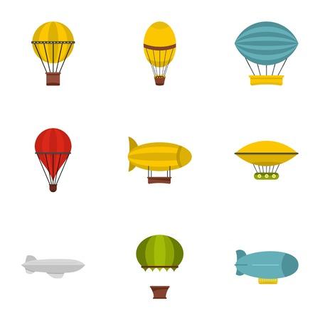 Vintage balloons icon set, flat style Illustration