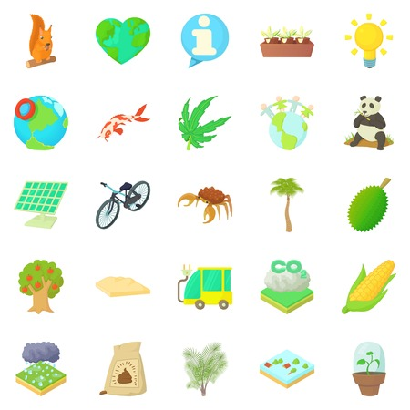 Bionomics icons set, cartoon style