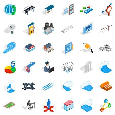 Electricity operator icons set, isometric style Ilustração