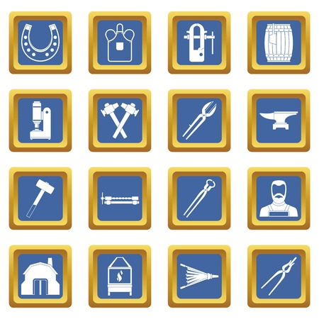 Blacksmith icons set in blue color isolated vector illustration for web and any design Illustration