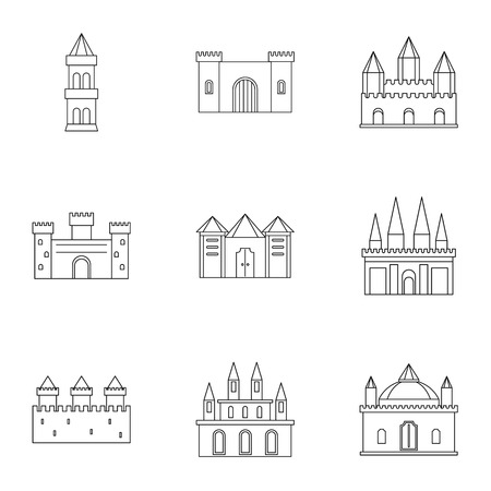 Ancient fortresses and palaces icon set. Outline style set of 9 ancient fortresses vector icons for web isolated on white background