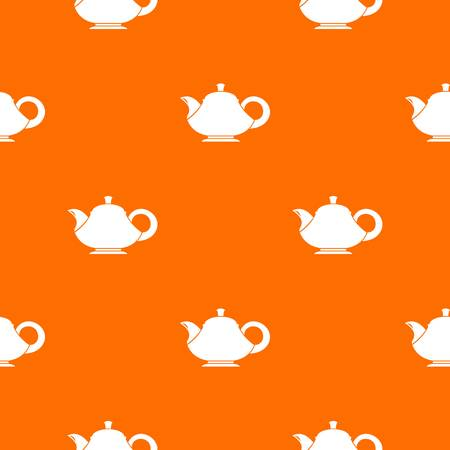 Teapot pattern repeat seamless in orange color for any design. Vector geometric illustration