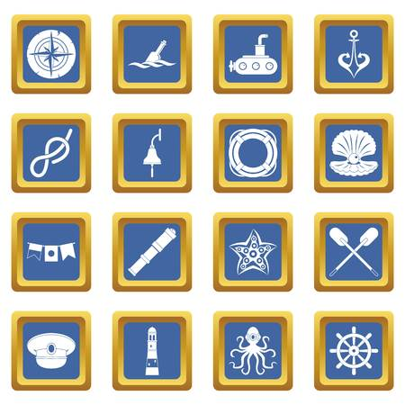 Nautical icons set in blue color isolated vector illustration for web and any design