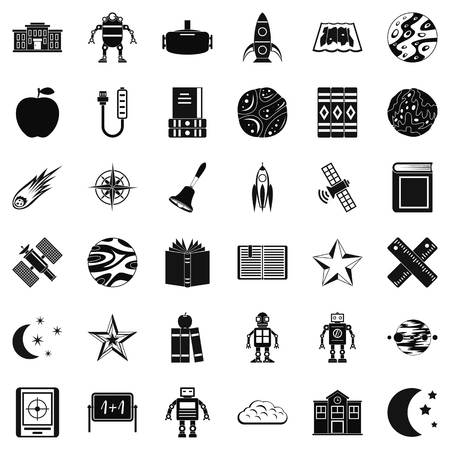 fire plug: Astronomy book icons set. Simple style of 36 astronomy book vector icons for web isolated on white background Illustration