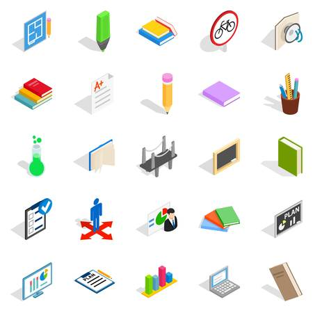 College house icons set. Isometric set of 25 college vector icons for web isolated on white background Illustration
