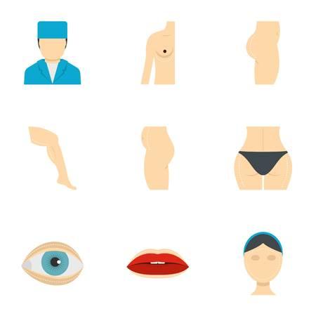 Surgery correction icon set. Flat style set of 9 surgery correction vector icons for web isolated on white background