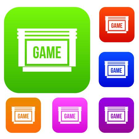 racing sign: Game cartridge set icon in different colors isolated vector illustration. Premium collection Illustration