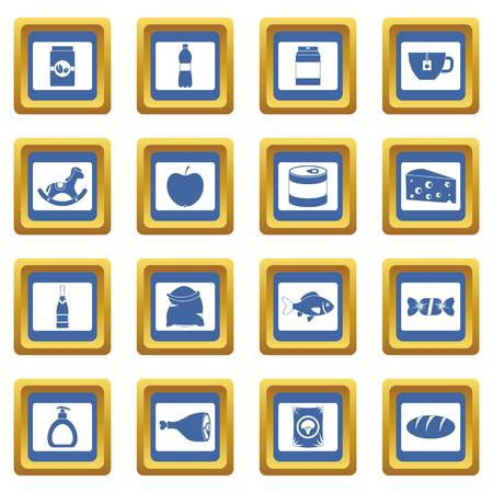 supermarket: Shop navigation foods icons set in blue color isolated vector illustration for web and any design