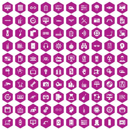 sharpness: 100 settings icons set in violet hexagon isolated vector illustration