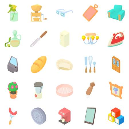 comfortable: Facilities icons set. Cartoon set of 25 facilities vector icons for web isolated on white background