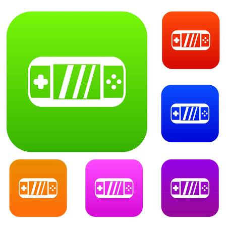 psp: Portable video game console set icon in different colors isolated vector illustration. Premium collection